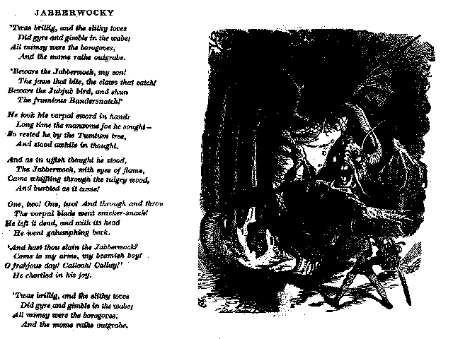 The poem 'Jabberwocky', with illustration.